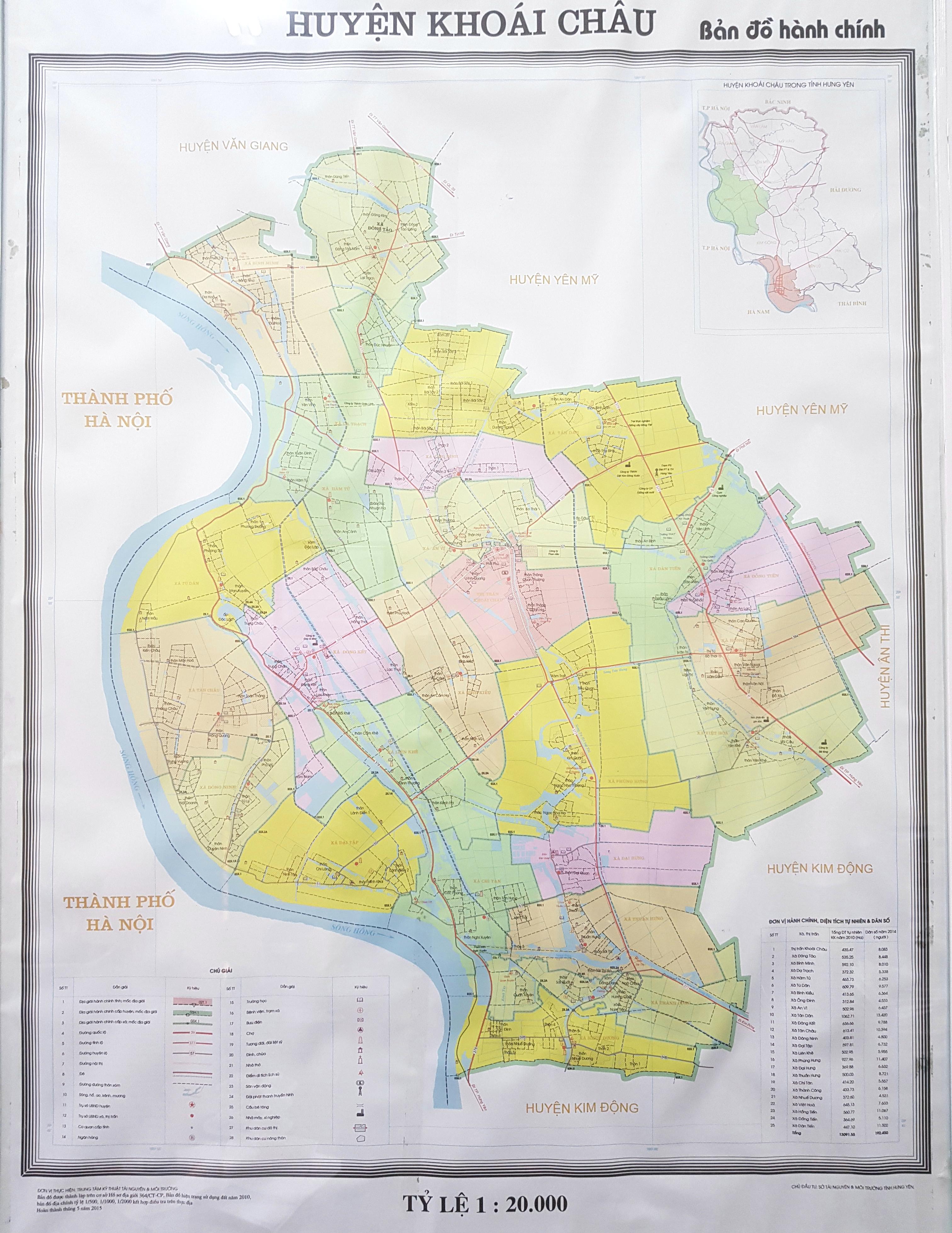 Bản đồ hành chính huyện Khoái Châu
